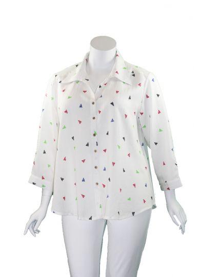 Fridaze Plus Size White Triangles Tuxedo Shirt AA161-CL8833