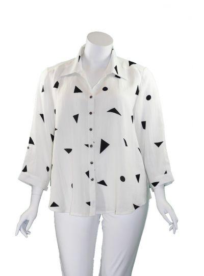Fridaze Plus Size White Shapes Button Shirt AA161-CL9239