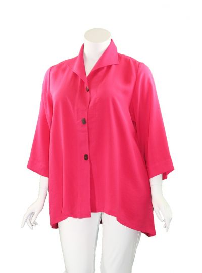 Fridaze Plus Size Camellia Button High Low Jacket AA183-CL8029