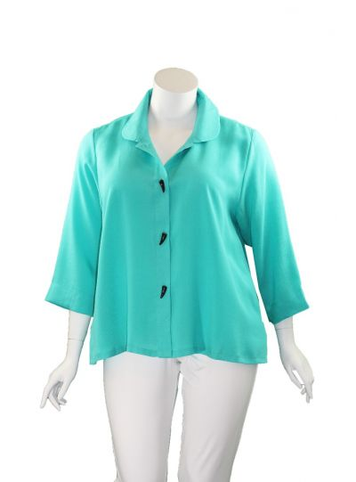 Fridaze Plus Size Lagoon Horn Button Jacket AA85-CL2592