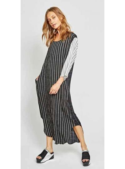 Alembika Black/White Striped Pullover Dress D809S