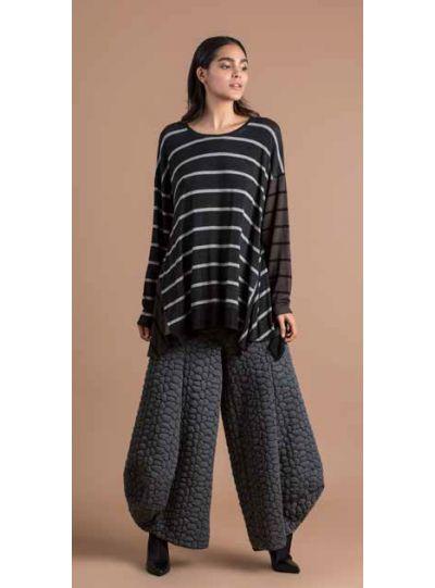 Alembika Grey Striped Pullover Top AT125I