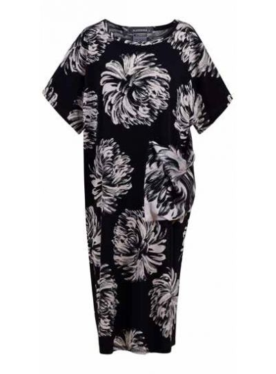Alembika Black Dahlia Print Straight Dress SD639B
