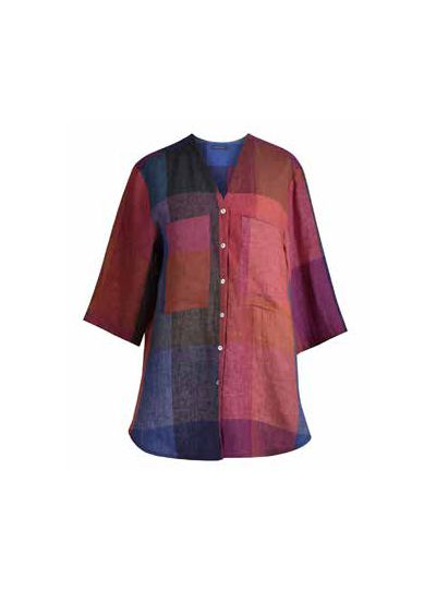 Alembika Check Linen Button Shirt ST201C