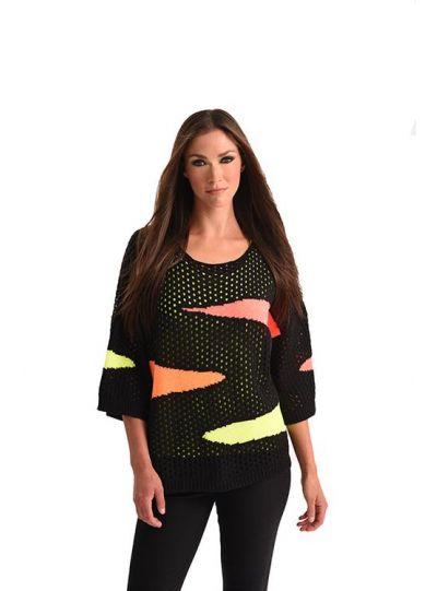 Angel Plus Size Black Fish Net Sweater 3411