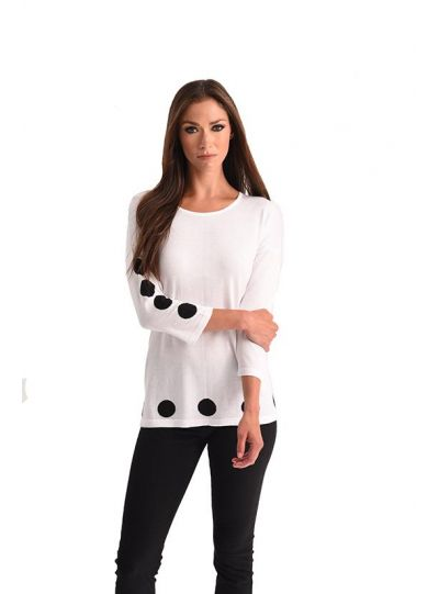 Angel Plus Size White Polka Dot Sweater 3426