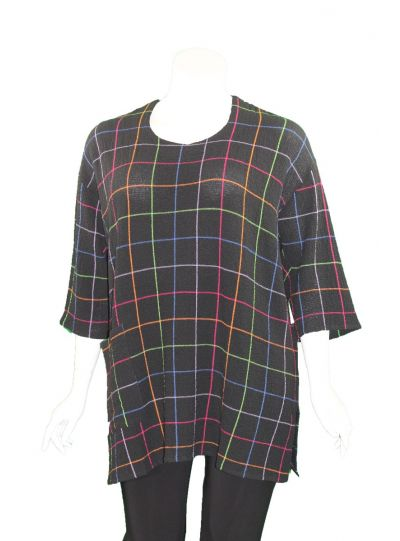 Aino Black Big Check One Pocket Tunic ARMAS