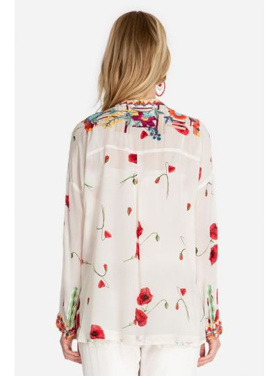 Biya/Johnny Was Multi Floral Bracciana Silk Blouse B18120D2
