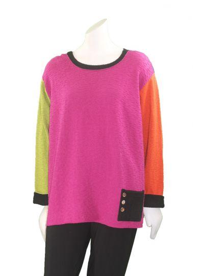Margaret Winters Plus Size Multi Reversible Pocket Sweater BA316MM