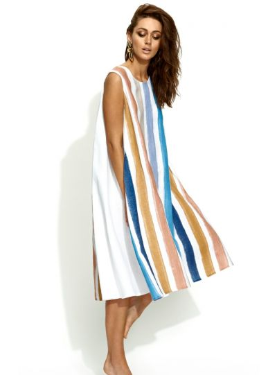 Banana Blue Plus Size Multi Striped Dress 1205AQ638X