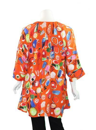 Aino Orange Multi Printed Pullover Tunic Bianca-213