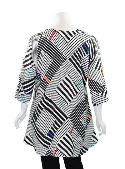 Aino Striped Color Block Pullover Tunic Bianca-109