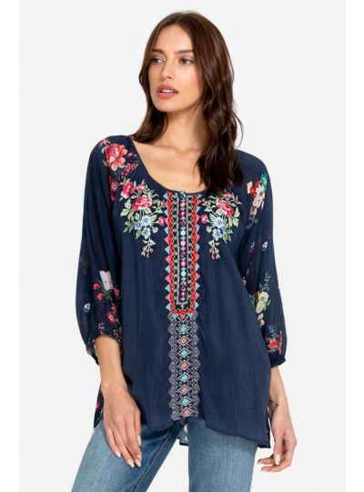 Johnny Was Multi/Blue Sheera Blouse C10519-4