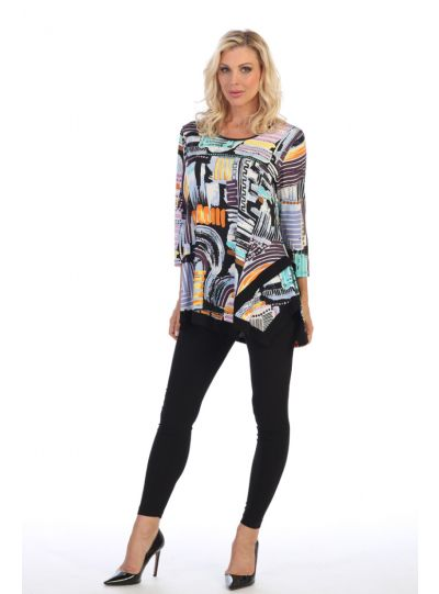 Caribe Plus Size Multi Swing Tunic XC1218P319