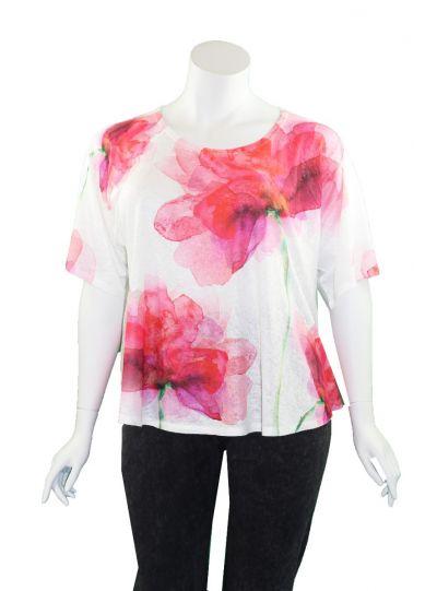 Et' Lois Plus Size White/Pink Floral Short Top C2007P-159
