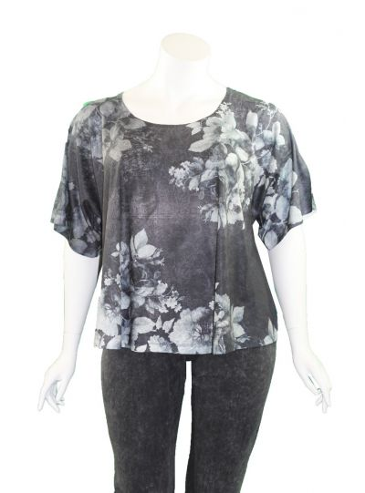 Et' Lois Plus Size Black/Grey Floral Short Top C2007P-184