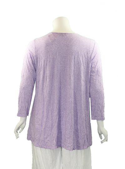 Comfy Plus Size Violet Striped Crinkle 2 Pocket Tunic C524
