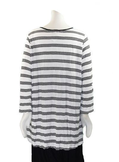 Comfy Plus Size White Striped Pandora Crinkle Top C635