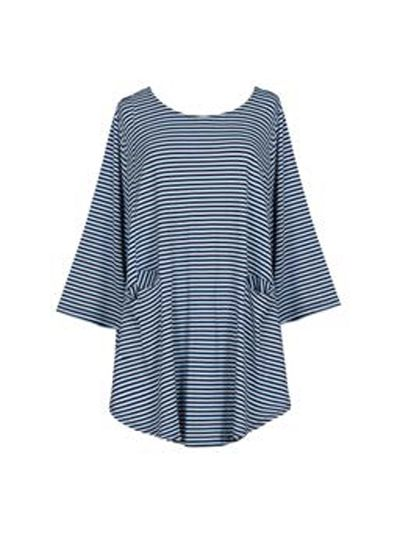 Alembika Resort Navy Striped Two Pocket Tunic RT317N