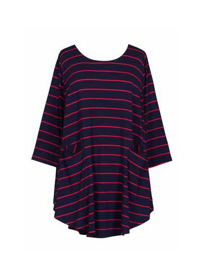 Alembika Resort Indigo Striped Pullover Tunic RT317I
