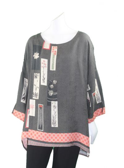 Citron Plus Size Black/Asian Inspired Pullover Tunic 152BFF