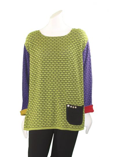 Margaret Winters Plus Size Multi Reversible Pocket Pullover CM687C