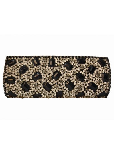 Colour Kraft Black and Clear Swarovski Crystal Clutch BA-1655