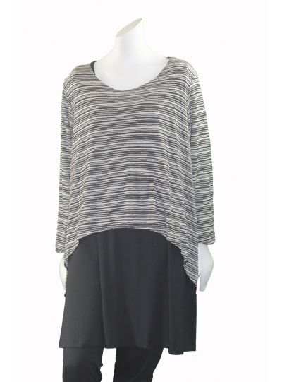 Comfy Plus Size Black/Tan Striped Sweater Short Over Piece M788