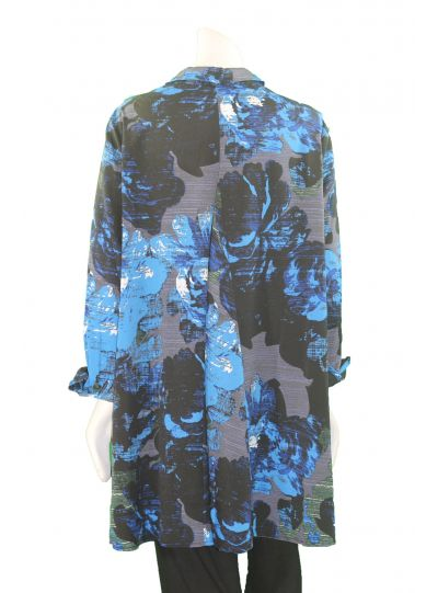 Comfy Plus Size Austin Print Button Front High Low Blouse WCD129