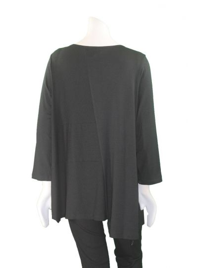 Comfy Plus Size Black Button Detail Selena Top WM859P