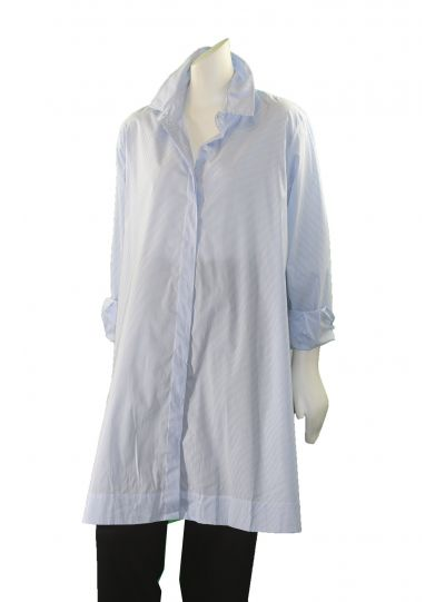 Comfy Plus Size Blue Striped High Low Button Front Shirt WSN155