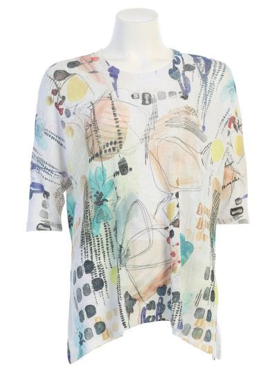 Jess & Jane Plus Size White Printed Mariposa Crepon Top CP1-1477X