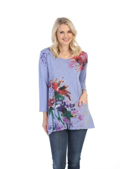 Jess & Jane Plus Size Purple Floral Poem Cotton Tunic CS4-1123X