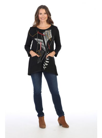 Jess & Jane Plus Size Black Strings Cotton Tunic CS4-1420X
