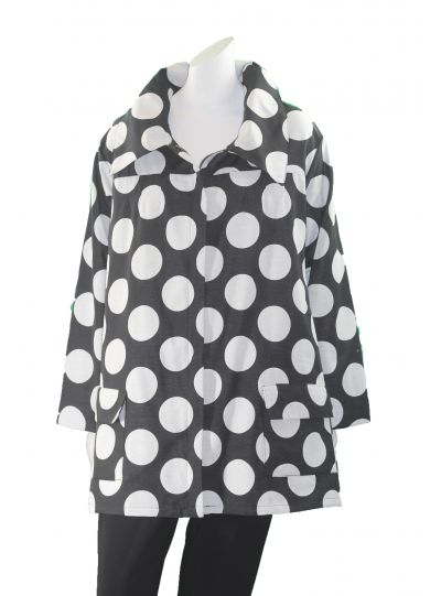 Ela Plus Size Black/White Polka Dot Zip Jacket 735