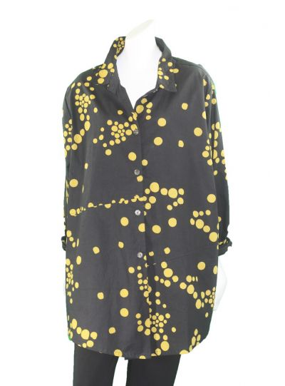 Adverb Plus Size Black/Mustard Polka Dot Cotton Shirt Enough