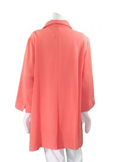 Fridaze Plus Size Papaya Long Coconut Button Swing High Low Shirt AA183-CL4385
