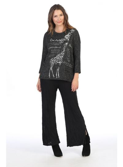 Comfy Plus Size Black Giraffe Song Print Sweater Top GB1-1296X