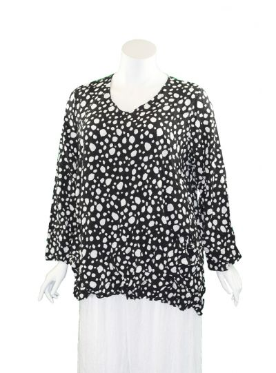 Comfy Plus Size Black Polka Dot Crinkle 2 Pocket Tunic CD141