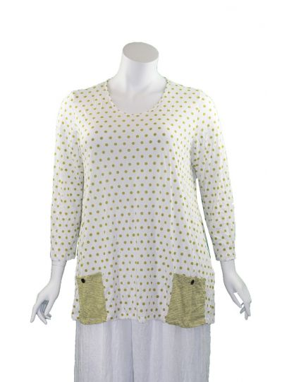 Comfy Plus Size Cactus Polka Dot Crinkle 2 Pocket Tunic C524