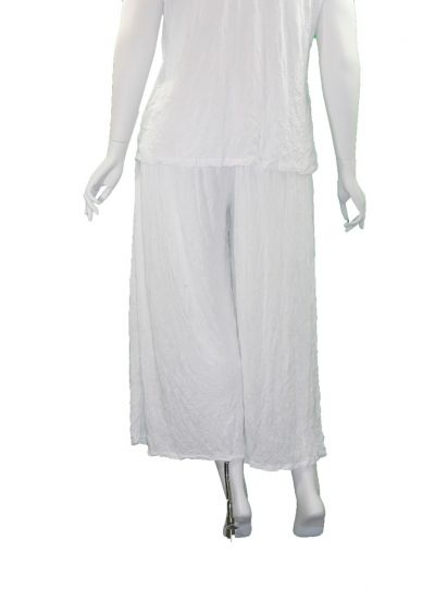 Comfy Plus Size White Crinkle Wide Leg Pant C238
