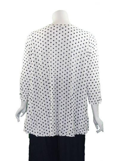 Comfy Plus Size White/Navy Crinkle Polka Dot 2 Pocket Top C640