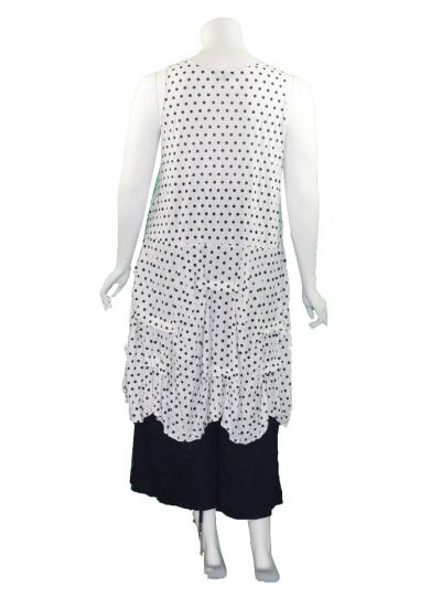Comfy Plus Size White/Navy Polka Dot Crushed Jumper C313