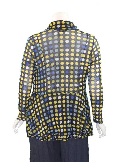 Comfy Plus Size Navy Polka Dot Mesh Crushed Jacket ES1008