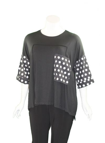 Comfy Plus Size Black Polka Dot Greta Tunic WLME104
