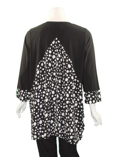 Comfy Plus Size Black/Polka Dot High Low Zipper Tunic SK527