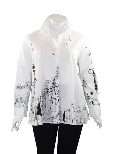 Comfy Plus Size White Renaissance Naomi Shirt SN503