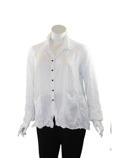 Comfy Plus Size White Crinkle Mindy Shirt CD140