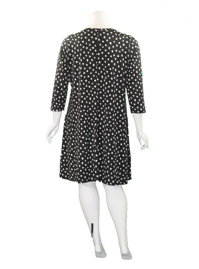 Comfy Plus Size Black Polka Dot Zipper Dress M480