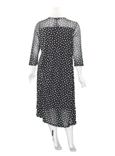Comfy Plus Size Black/White Polka Dot Mesh Malibu Dress ES3024